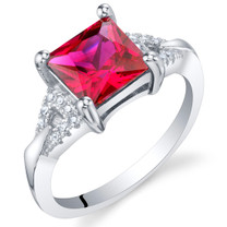 Created Ruby Sterling Silver Sweetheart Ring Sizes 5 to 9