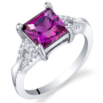 Created Purple Sapphire Sterling Silver Sweetheart Ring Sizes 5 to 9