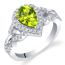 Peridot Sterling Silver Halo Crest Ring Sizes 5 to 9