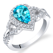 Swiss Blue Topaz Sterling Silver Halo Crest Ring Sizes 5 to 9