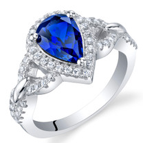 Created Blue Sapphire Sterling Silver Halo Crest Ring Sizes 5 to 9