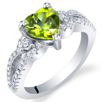 Peridot Sterling Silver Heart Soulmate Ring Sizes 5 to 9