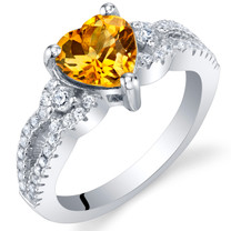 Citrine Sterling Silver Heart Soulmate Ring Sizes 5 to 9