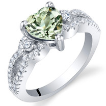 Green Amethyst Sterling Silver Heart Soulmate Ring Sizes 5 to 9