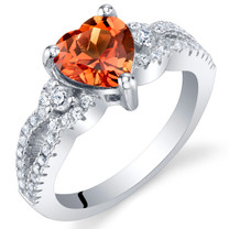 Created Padparadscha Sapphire Heart Soulmate Ring Sizes 5 to 9