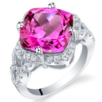 7.50 Carat Created Pink Sapphire Sterling Silver Cushion Halo Ring Sizes 5 to 9