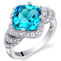 3.50 Carat Swiss Blue Topaz Sterling Silver Tier Halo Ring Sizes 5 to 9
