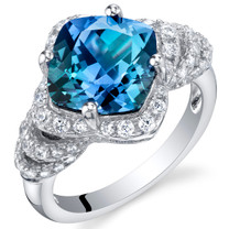 4.25 Carat Simulated Alexandrite Sterling Silver Tier Halo Ring Sizes 5 to 9