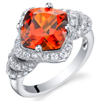4.25 Carat Created Padparadscha Sapphire Sterling Silver Tier Halo Ring Sizes 5 to 9