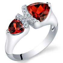 Garnet Sterling Silver Trillion Cut Two-Stone Ring Sizes 5 to 9