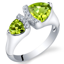 Peridot Sterling Silver Trillion Cut Two-Stone Ring Sizes 5 to 9