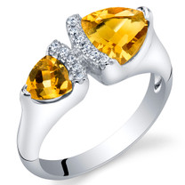 Citrine Sterling Silver Trillion Cut Two-Stone Ring Sizes 5 to 9