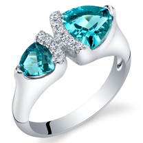 London Blue Topaz Sterling Silver Trillion Cut Two-Stone Ring Sizes 5 to 9