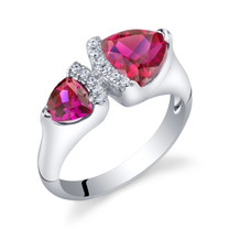 Created Ruby Sterling Silver Trillion Cut Two-Stone Ring Sizes 5 to 9