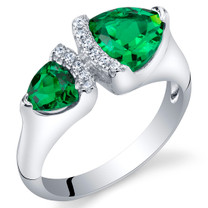 Simulated Emerald Sterling Silver Trillion Cut Two-Stone Ring Sizes 5 to 9