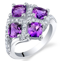 2 Carat Amethyst Sterling Silver Quad Ring Sizes 5 to 9