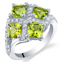 2.50 Carat Peridot Sterling Silver Quad Ring Sizes 5 to 9