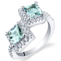 Aquamarine Sterling Silver Princess Cut Two-Stone Ring Sizes 5 to 9