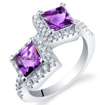 Amethyst Sterling Silver Princess Cut Two-Stone Ring Sizes 5 to 9