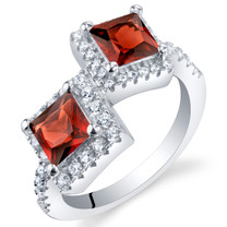 Garnet Sterling Silver Princess Cut Two-Stone Ring Sizes 5 to 9