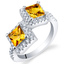Citrine Sterling Silver Princess Cut Two-Stone Ring Sizes 5 to 9