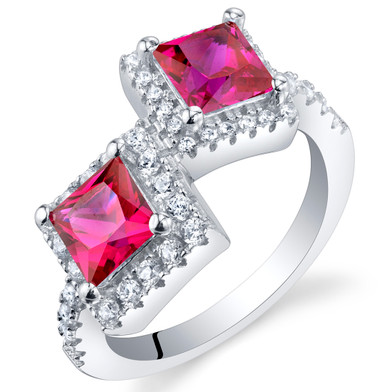 Created Ruby Sterling Silver Princess Cut Two-Stone Ring Sizes 5 to 9