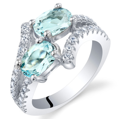 Aquamarine Sterling Silver Two-Stone Ring Sizes 5 to 9