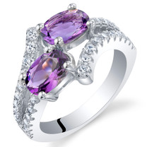 Amethyst Sterling Silver Two-Stone Ring Sizes 5 to 9