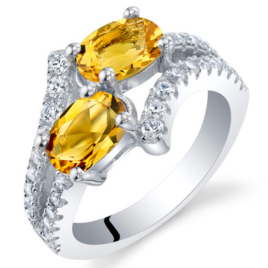 Citrine Sterling Silver Two-Stone Ring Sizes 5 to 9