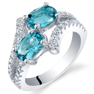 London Blue Topaz Sterling Silver Two-Stone Ring Sizes 5 to 9