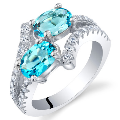 Swiss Blue Topaz Sterling Silver Two-Stone Ring Sizes 5 to 9