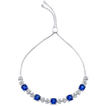 Sterling Silver Created Blue Sapphire Cushion Cut Halo Adjustable Bracelet 6.50 Carats Total