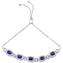 Sterling Silver Created Blue Sapphire Adjustable Friendship Bracelet 3.50 Carats Total
