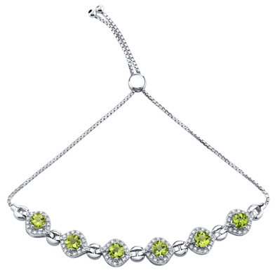 Sterling Silver Peridot Equate Adjustable Bracelet 3.50 Carats Total