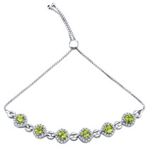 Sterling Silver Peridot Equate Adjustable Bracelet 3.50 Carats Total