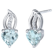 Aquamarine Sterling Silver Heart Earrings 1.25 Carats Total