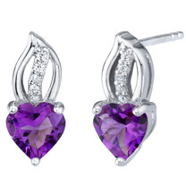 Amethyst Sterling Silver Heart Earrings 1.50 Carats Total