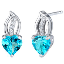 Swiss Blue Topaz Sterling Silver Heart Earrings 2.00 Carats Total