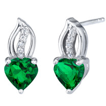 Simulated Emerald Sterling Silver Heart Earrings 1.50 Carats Total