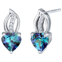 Simulated Alexandrite Sterling Silver Heart Earrings 2.25 Carats Total