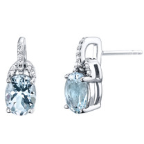Aquamarine Sterling Silver Pirouette Drop Earrings 2.00 Carats Total