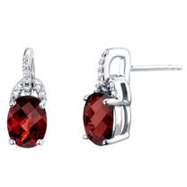 Garnet Sterling Silver Pirouette Drop Earrings 3.00 Carats Total