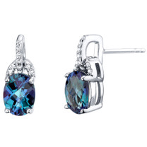 Simulated Alexandrite Sterling Silver Pirouette Drop Earrings 3.25 Carats Total