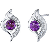 Amethyst Sterling Silver Elvish Stud Earrings 1.00 Carat Total