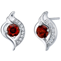 Garnet Sterling Silver Elvish Stud Earrings 1.25 Carats Total