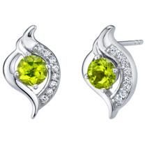 Peridot Sterling Silver Elvish Stud Earrings 1.00 Carat Total