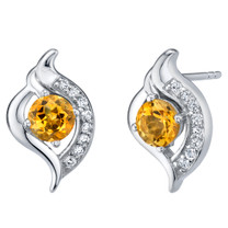 Citrine Sterling Silver Elvish Stud Earrings 1.00 Carat Total