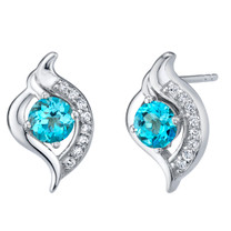 Swiss Blue Topaz Sterling Silver Elvish Stud Earrings 1.25 Carats Total