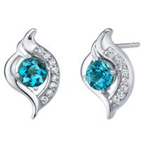 London Blue Topaz Sterling Silver Elvish Stud Earrings 1.25 Carats Total