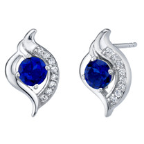 Created Blue Sapphire Sterling Silver Elvish Stud Earrings 1.25 Carats Total
